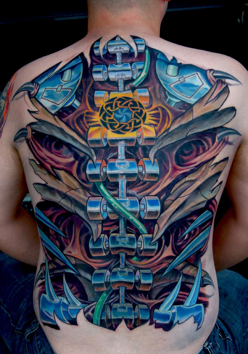 large biomechanical back tattoo design of tattoosdesign of tattoos. Black Bedroom Furniture Sets. Home Design Ideas