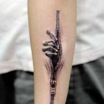 3D tattoo design on arm