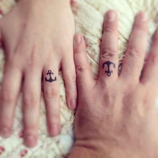 Anchor wedding ring tattoo design of tattoosdesign of for Anchor tattoos for couples
