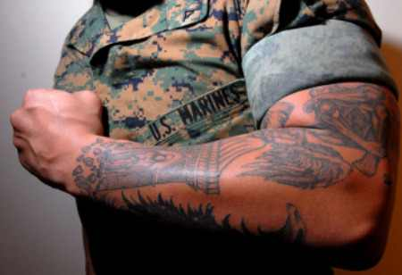 military tattoo on arm