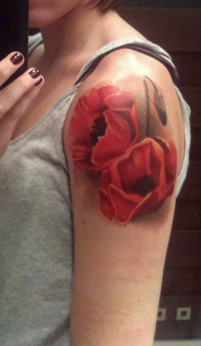 shoulder poppy tattoo - Design of TattoosDesign of Tattoos
