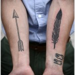 arrow and feather tattoo design
