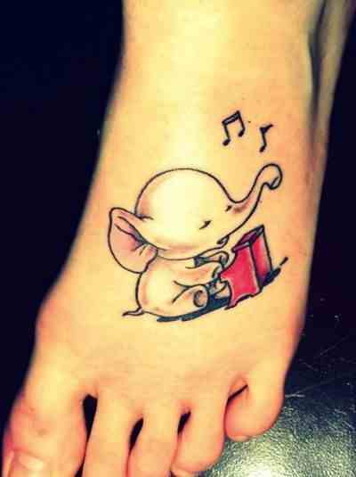 baby elephant tattoo on foot design of tattoosdesign of tattoos. Black Bedroom Furniture Sets. Home Design Ideas