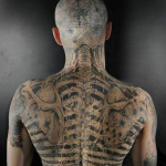 back and head 3D tattoo design
