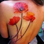 poppy tattoo on back