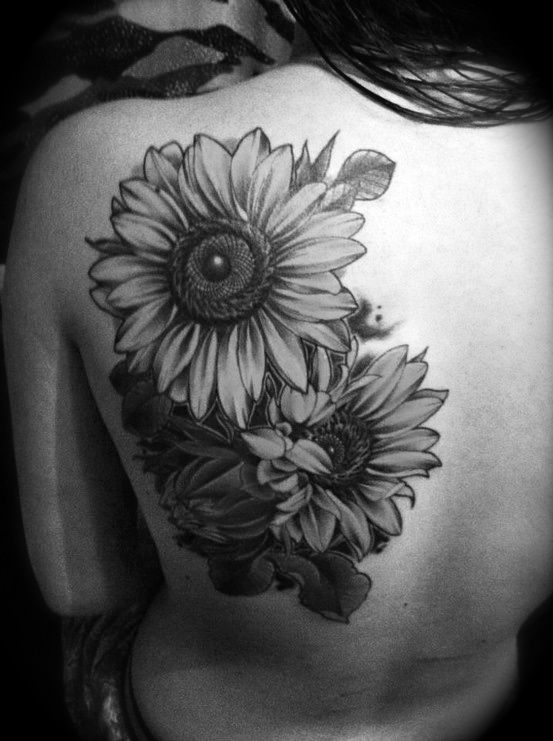 Back Sunflower Tattoo