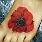 leg poppy tattoo design