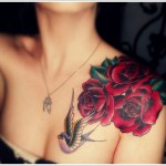 bird and rose tattoo design