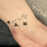 bird and quote love tattoo design