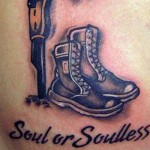 boots and helmet military tattoo design