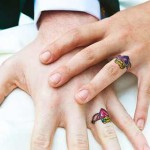 colorful wedding ring tattoo design