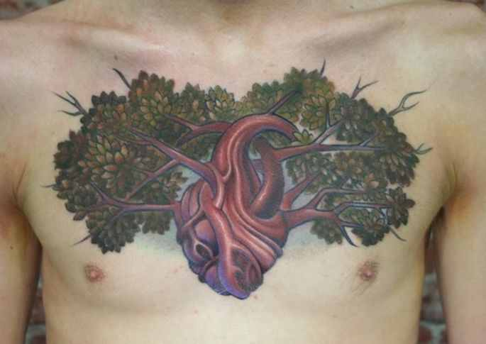 creative chest tree of life tattoo design