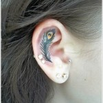ear feather tattoo design