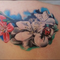 flowers and ladybug tattoo design on back