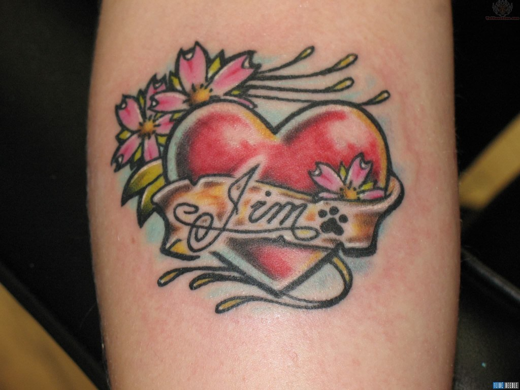 flowers and love tattoo design