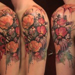 poppy and flowers tattoo