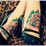 leg rose tattoo attractive design