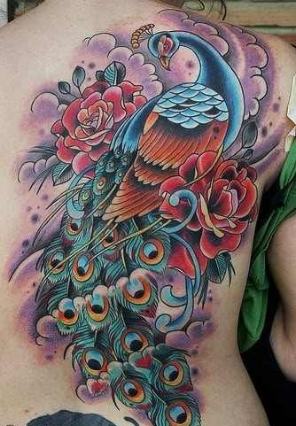 Red peacock tattoo - photo#19