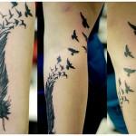 fullsleeve feather tattoo design