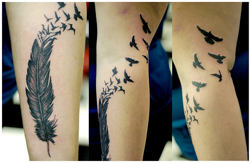 fullsleeve feather tattoo design