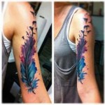 girl feather tattoo design