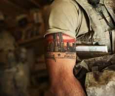 halfsleeve military tattoo design