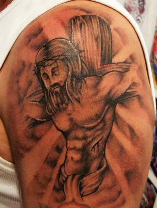 jusus on the cross religious tattoo design