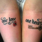 key and heart lock tattoo design