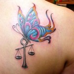 libra and butterfly tattoo