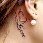 love tattoo design behind ear