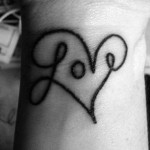 love tattoo design on wrist