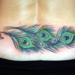 lower back feather tattoo design