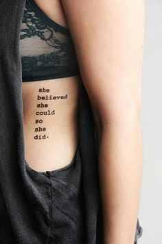 motivational rib quote tattoo design