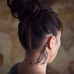 feather tattoo design on neck