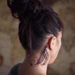 feather tattoo design on neck