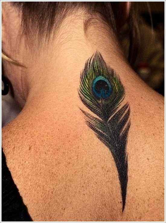 neck feather tattoo design