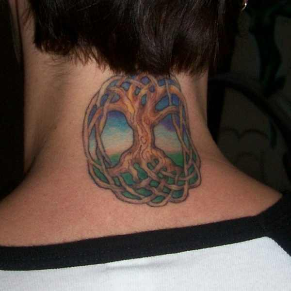 neck tree of life tattoo design