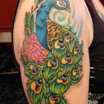 peacock tattoo design on shoulder