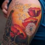 dandelion and poppy tattoo design