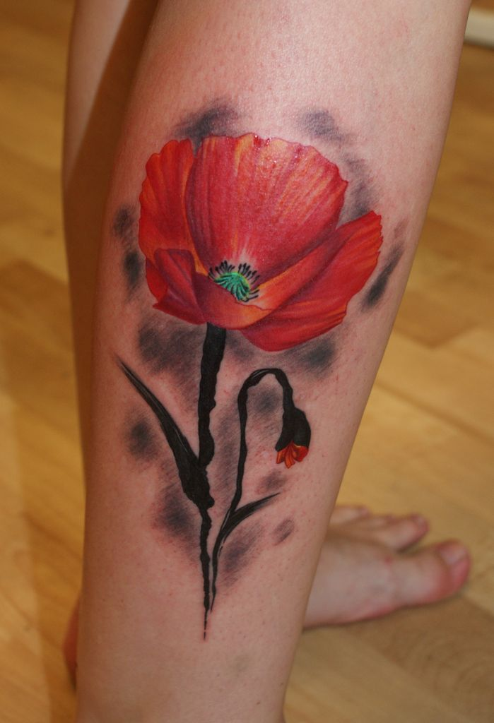 Traditional poppy tattoo