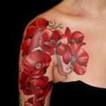 halfsleeve poppy tattoo design