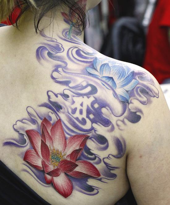 red and blue lotus tattoo design design of tattoosdesign of tattoos. Black Bedroom Furniture Sets. Home Design Ideas