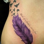 owl feather tattoo design in purple