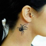 realistic spider 3D tattoo design