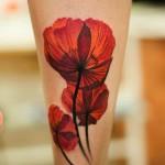 red poppy tattoo design