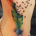 ribcage feather tattoo design