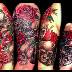 skull and rose tattoo design on sleeve