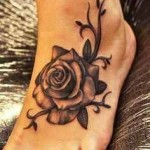 feet rose tattoo