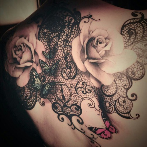 lacework and rose tattoo