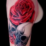 skull with roses tattoo design